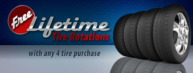 Free Lifetime Tire Rotations, With any 4 Tire Purchase!
